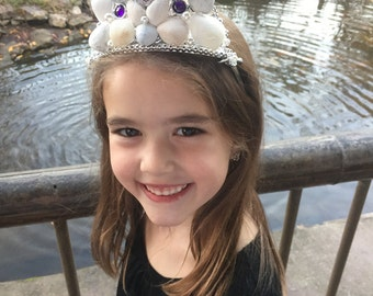 Silver Mermaid Crown,Child Size Mermaid Crown, Mermaid Headpiece, Mermaid Accessories, Mermaid Hair Accessory, Seashell Crown, Kid's Gift
