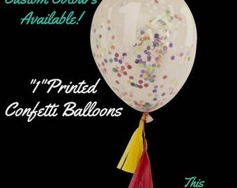 Rainbow Confetti Balloon 1st or 2nd birthday party decoration with mini tassels tail