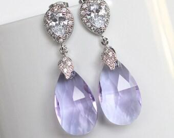 Handmade Lavender Light Amethyst Pear Crystal Dangle Earrings, Bridal, Wedding (Sparkle-2174)