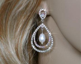 Beautiful Crystal Rhinestone & Pearl Teardrop Bridal Chandelier Dangle Earrings, Bridal, Wedding (Pearl-118)
