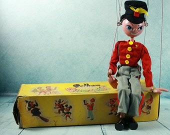 Viintage Pelham Puppet Marionette Russian Soldier FRITZI with box