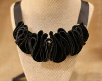 Ruffled N - Black Leather Necklace