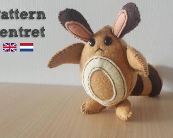 Sentret plush pattern, Pokemon plushie, sewing, mouse, squirrel, tanooki, kids, animal, Easter