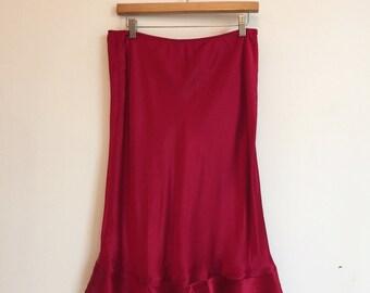 "SALE! Vintage Raspberry Ruffle Hem Silk Skirt 30""-32"""