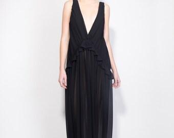 Black Dress, Maxi Dress, Prom Dress, Evening Dress, Oversize dress, Open Back dress, Bridesmaid Dress, Deep cleavage Dress, Boho chic dress,