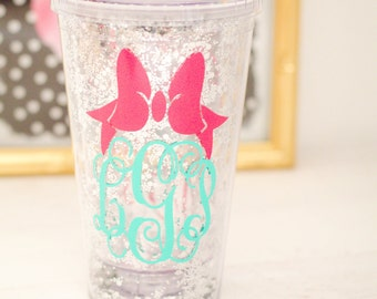 Personalized Monogram Bow Tumbler, Glitter Tumbler, Gift for Her, Monogram Tumbler, Preppy Cup, Girls weekend cup
