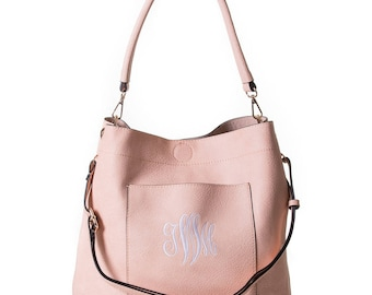 Monogrammed blush pink bucket bag 2in1 gold tone hardware, personalized purse