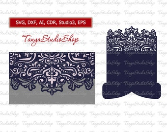 Scroll Wedding Envelope - SVG, DXF, ai, eps, studio3 - Vintage Lace  - Laser Cut Silhouette Cameo - Instant Download 009