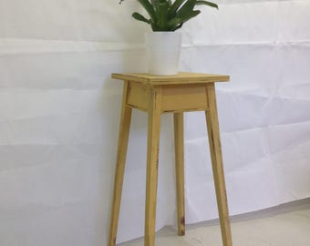 SOLD Yellow plant stand, vintage, distressed.