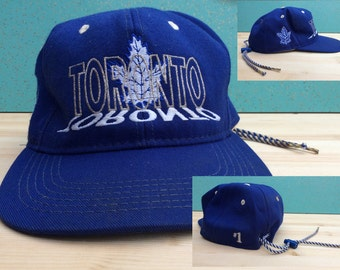Vintage Toronto Maple Leafs Vintage 90's Drawstring Hat NHL Sports Cap by #1 Apparel Embroidered Adjustable Ballcap Made in Canada