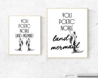 Leslie Knope Compliment Quote: Poetic Noble Land Mermaid Print (DIGITAL DOWNLOAD)