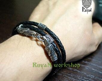 Ravens bracelet. Ravens necklace. Odin ravens. Black raven. Viking jewerly. Viking ravens. Leather cord for pendant. Choker.