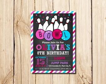 Bowling Invitation, BOWLING BIRTHDAY INVITATION, Printable Bowling Invitations, Bowling Party Invitation, Girl Bowling  Invitation, pink