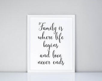 Family is where life begins and love never ends Printable, Digital Printable // Family // Quote // Wedding