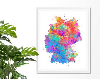 Germany Watercolor Map 1 Art Print, Poster, Wall Art, Contemporary Art, Modern Wall Decor, Office Decor