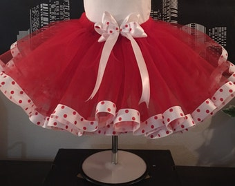 Red white and polka dot Teen & Adult Tutu Skirt, Plus Size,  Custom Size, Halloween, Parties, Dance, Pageant, Christmas,  bridal shower,