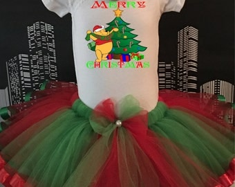 Winnie the Poo Christmas Tutu, Infant, Toddler, Red and Green for Parties, Dance, Playdates, Holiday,  Onesie or Toddler Shirt, Hair Bow Set
