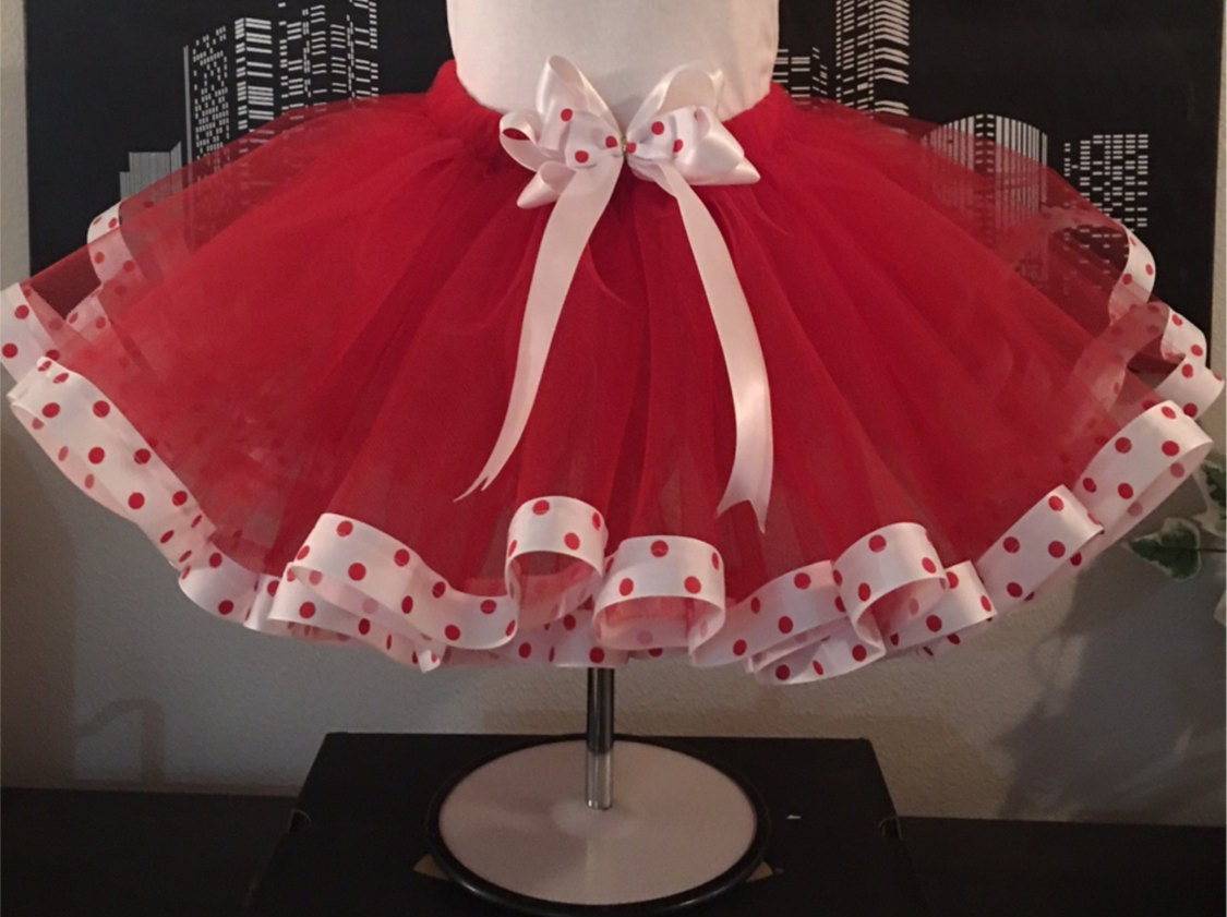 Red Tutu With White And Polka Dot Teen Adult Skirt Plus Size Custom Valentines Day Parties Dance Christmas Bridal Shower