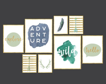 Adventure Gallery Wall set of 8 digital art prints boys room decor boys nursery art prints set - 8x10 12x16 16x20 instant download set of 8