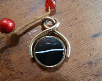 stunning antique agate pocket watch chain swivel fob / spinner / spinning fob / vintage fob / pendant / charm / albert chain fob