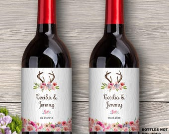 "Printable Rustic Watercolor Wildflowers Antlers Faux Bois Wood Look Boho Wine Bottle Labels; 4"" x 5"" Labels - Editable PDF, Instant Download"