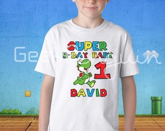 Yoshi Birthday Shirt Personalized, Super Mario brothers  and Yoshi T shirt- nintendo Super Mario