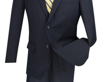 Classic-fit men's wool suit 2 piece suit 2 bottons solid navy suits new with tag