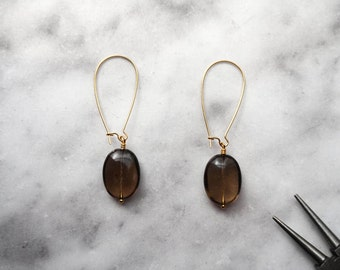 Smoky Quartz Earrings, Gemstone Earrings, Long Gemstone Earrings, Smoky Quartz Jewelry, Kidney Wire Earrings, Gold Earrings, Kidney Earring