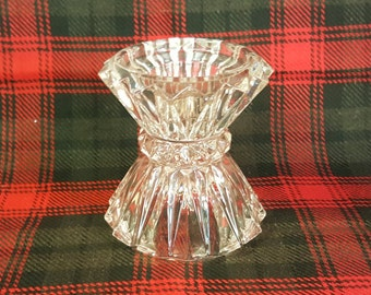 Lead Crystal Multi Sized Candle Holder Holds 3 Sized Candles or Flip for Small Candy Dish Vintage Table Decor for Fancy Table Setting