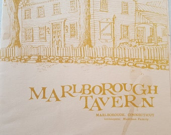 Vintage Menu Marlborough Tavern Marlborough CT circa 1980s Collectible Menu for Framing Kitchen Decor Restaurant Decor Free Shipping