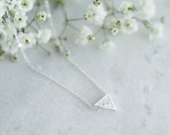 Triangle Bunting Sterling Silver Necklace | Small Simple Tiny Dainty Geometric Necklace | 925 Silver Hypoallergenic 100% Sterling Silver