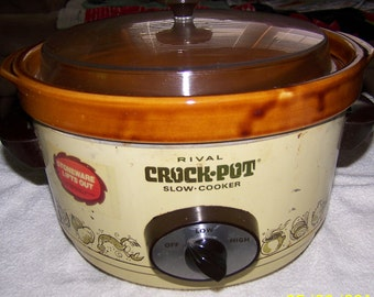 Vintage Rival 5 qt Crock Pot Model 3350 Removable Crock Yellow Slow Cooker w/Lid