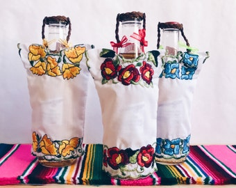 Mexican blouse bottle cover, Embroidered blouse, Fiesta decorations, Mexican party decoration, Mexican fiesta decorations, fiesta SET OF 3