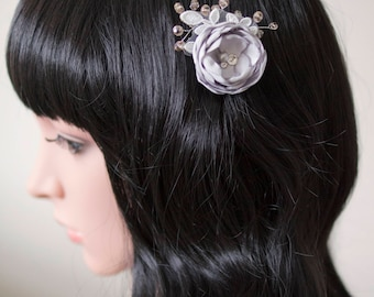 Bridal hair flower | Silver hair flower | Grey hair flower | Fabric flower | Bridal haircomb