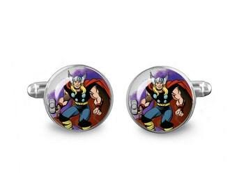 Thor Cuff Links Superhero Cuff Links 16mm Cufflinks Gift for Men Groomsmen Novelty Cuff links Fandom Jewelry