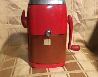Vintage 1950s Red Vogue Rival Metal Ice-O-Mat ice crusher, vintage kitchen, retro kitchen, red kitchen, 50's decor,