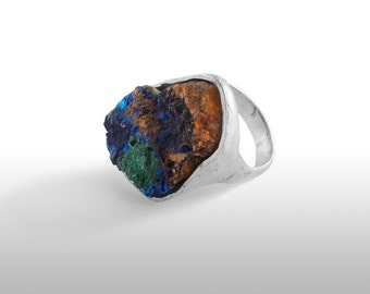 Unisex handmade silver law with azurite ring