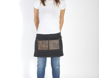 Women waist apron, high quality leather and canvas, stylish, black, brown, grey, personalized & handcrafted by Rasso Workwear - Roxanne