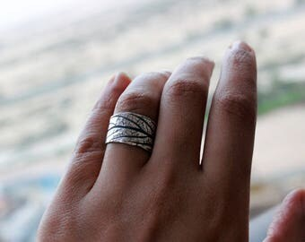 Leaf Sterling Silver Textured Ring - Botanical Ring - Natural Organic Style Jewelry - Adjustable - Engrave-able