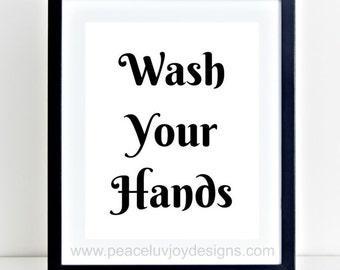 Bathroom Signs Wash Hands wash hands poster | etsy