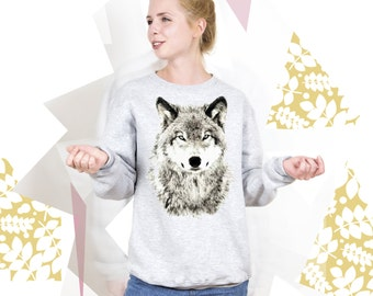 Wolf Sweatshirt Wolf Sweater with Wolf Jersey Wolf Jumper Pullover for Womens Mens Animal Sweashirt Animal Pullover Sweatshirt PA3023
