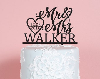 Heart Mr and Mrs with Date Wedding Cake Topper