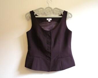 Womens Dark Purple Vest Classic Formal Waistcoat Purple Steampunk Vest Extra Large Size