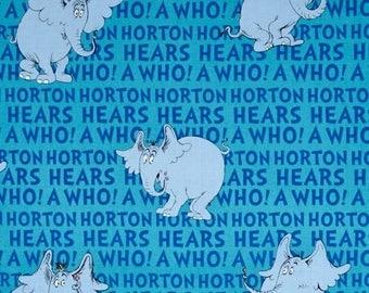 Dr Suess Horton Hears a Who on Blue Fabric - BTHY