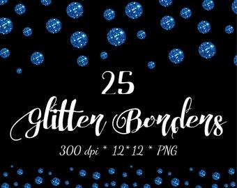 Glitter Clipart Glitter Border Digital Blue scrapbook borders Dot Сonfetti Blue Clipart Glitter overlay glitter clip art Border clipart Png