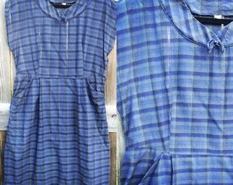 1960s Blue Plaid Cotton Dress with Capped Sleeves