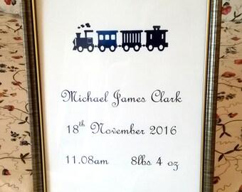 Personalised Name Print - Birth Announcement Foil Print - Nursery Art - New Baby Print Wall Art - Custom Name Print - Train Print