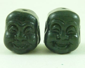 2 Chinese Carved Buddha Head Spinach Jade Stone Beads Prayer Necklace Bracelet Mala Vintage