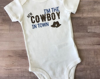 New Cowboy in Town Bodysuit ~ New Baby ~ Cowboy Baby Shower ~ Gift Idea ~ Baby Boy
