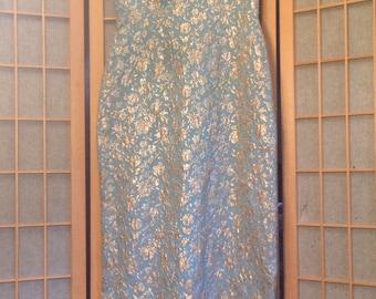 Brocade Blue and Gold Vintage 1970s Formal